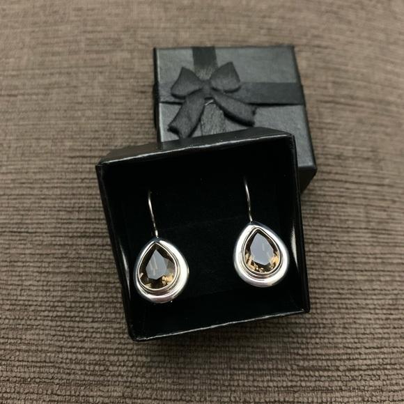 Sterling silver real smoky quartz teardrop earring